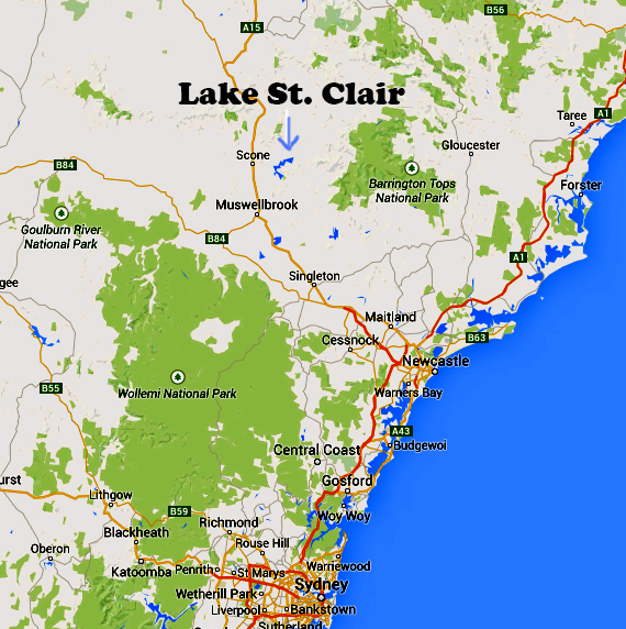 Map showing Lake St. Clair in Australia