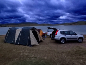 Lake St. Clair tent camping and fishing in New South Wales Australia.
